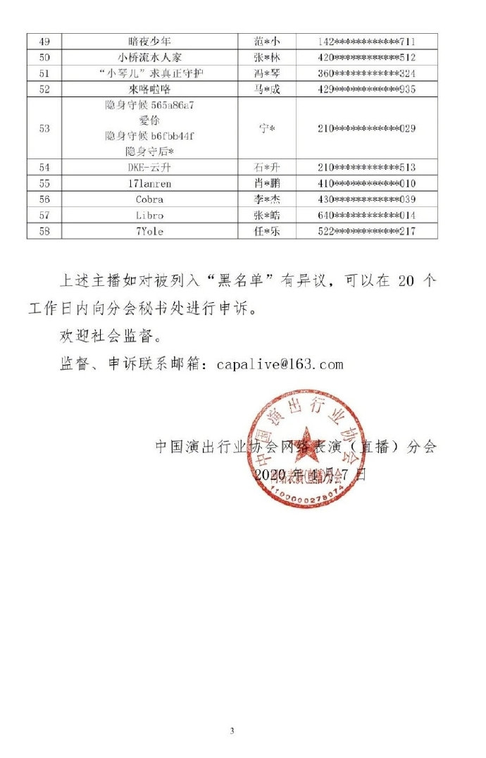 第五批主播黑名单公布    在名单中包含了4名电竞职业选手