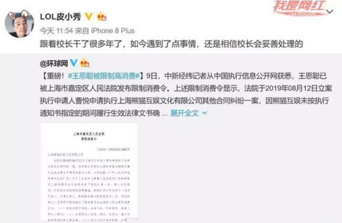 王思聪限制消费了   原因跟王思聪投资熊猫直播相关